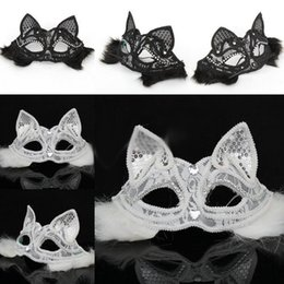 Wholesale Halloween Sexy Fox Lace Mask Half Face Black White Cat Face Venice Party Mask Cosplay Performance Props Masquerade Supplies
