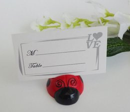 Wholesale 200pcs Creative pretty Ladybug Wedding Gift Wedding Seats Clip Creative Name card note picture memo photo clip Holder