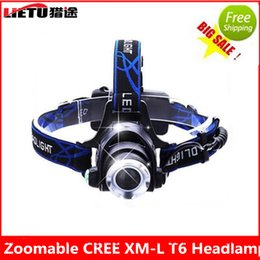 Wholesale Zoomable LED Headlight Headlamp CREE T6 led headlamp Light Head lights head lamp lm XML T6 zoomable lampe frontale BIKE light