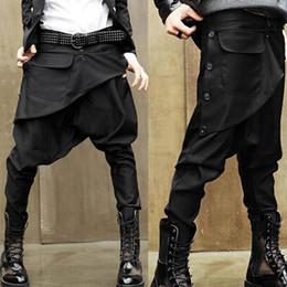 Wholesale Avant Garde Low Drop Crotch Men s Casual Baggy Harem Pants Culotte Sweatpants Ankle Length Pants M XL