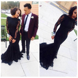 Modest Arabic Muslim Dresses Evening Wear With Long Sleeves High Neck Full Lace Black Mermaid Plus Size Formal Prom Gowns