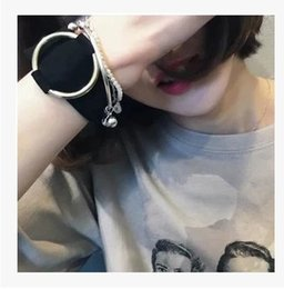High Quality Korean Star Style Leather Bangles Women Charms Bracelets Gold Round Circle Vintage Silver Bracelet Wholesale Elegant Design
