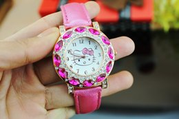 Foreign trade new fashion Wholesale gemstone watches HELLO KITTY cat girl watches factory price advantage wholesale