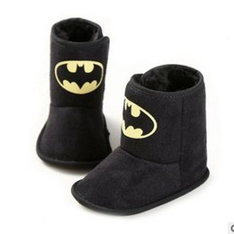 Wholesale kids winter boots New Warm Fashion Baby Boys Shoes Batman Cartoon Toddler Snow Boots Cute Infant First Shoes Z036