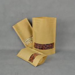 Wholesale Paper Bag x20cm Ink jet Printer Stand up Kraft Bag With Window Kraft Paper Ziplock Bag Paper Doypack Pouch Paper Bag