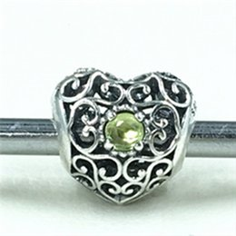 Wholesale 2015 New Sterling Silver August Signature Heart Charm Bead with Olive Green Gemstone Fits European Pandora Jewelry Bracelets Necklace