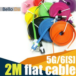 Wholesale M3FT Flat Cable USB Sync Data Charger flat rubber noodle f cables for S S colour