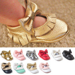 New 12 Colors matching Tassels with bowknot Baby Moccasins Soft bottom Shoes PU Newborn Baby First Walkers free shipping C989