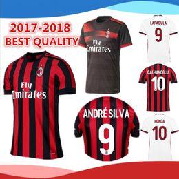 2017-2018 AC Milan home and away Soccer Jersey 17 18 AC Milan Soccer Shirt Customized #10 CALHANOGLU #9 ANDRE SILVA football uniform Sales