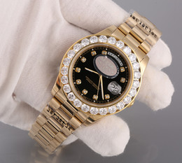 Wholesale Super N President Day Date K Gold Men s Watch With Diamond Bezel Black Dial and Diamond Hour Markers