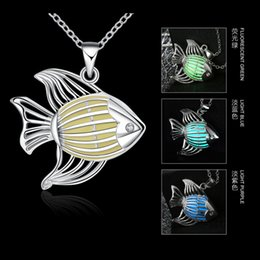 Silver Plated Luminous Night Swimming Fish Shaped Pendant For Women Glowing In The Dark Collar Necklace Druzy Jewelry