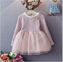 Wholesale 2016 Autumn Girls Long Sleeve Princess Dresses Baby Girl Solid Color Sweater Dress Children Knitted Tulle Stitching Dress Kids Gauze Dress