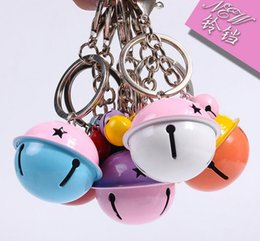 Wholesale Assorted Colors Stainles Steel Small Bell Key Chains Promotion Gift Key Ring DIY Present Candy colors