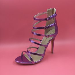 Wholesale Cheap Open Toed Heels - Fashion Real Bridal Wedding SHoes Purple Light Gold 2016 Plus Size US4-US15 Summer Style Sandals Buckle Strap High Thin Heels Cheap Modest