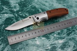 New Browning DA51 Pocket Folding knife Wooden handle 56HRC 5Cr13 Blade Tactical survival Knives EDC Camping tools