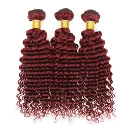 8A Indian Hair 3 Bundles 99J Deep Curly Hair Weaves 300G Lot Wine Red Burgundy Deep Wave Indian Hair Extensions