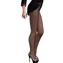 Wholesale Super Elastic Retro Beauty online New Sexy Womens seamless Tights Black Diamond Sides Detail Stretch Fishnet Tights LC79776