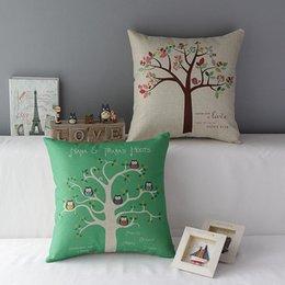 Wholesale 18 quot Square Natural Beautiful Tree Four Season emoji Cotton Linen Cushion Cover Sofa Decorative Throw Pillow Chair Car Home Decor Pillow Case