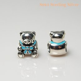 Fits Pandora Bracelet&Charms BABY BOY TEDDY BEAR CHARM DIY Beads Solid 925 Silver Not Plated