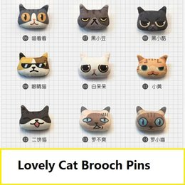 Wholesale lovely cat brooch lapel pins handmade boutonniere stick with fabric cat shape for lady girls kids clothers and bags price cheap
