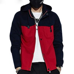 Patchwork Coats And Jackets Man Hooded Button Zipper Men's Jacket Spring Contrast Windbreaker Outwear