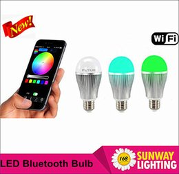 Wholesale E27 LED bulbs play music Bluetooth Wi Fi Smart scene lighting set LED lamp w mobile APP Control Various Colors