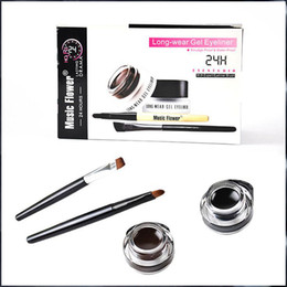 2016 Hot New Music Flower Gel Eyeliner Black brown Eyeliner lasting waterproof Cosmetics Set Eye Liner Kit Free Shipping 1PC