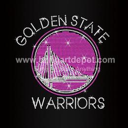 Wholesale Warriors Rhinestone Iron Ons Basketball Hotfix Heat Transfers For Sport Wears Custom Design Available