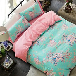 Wholesale Comforters King Size Wholesale - 3D Bedding Sets 4pcs Charming Blue Roses Pattern Design Printed Comforter Sets Queen Size Duvet Cover Bed Sheet