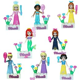 Wholesale 2016 Girls Friends Froze Princess Mermaid Minifigures Building Blocks Action Figures Anna Elsa Toys DIY Bricks JG115