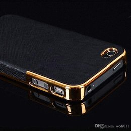Luxury Black Cool Gold Plated Frame Cross Pattern PU+PC Hard Case Cover Protector for Apple iPhone 5 5s