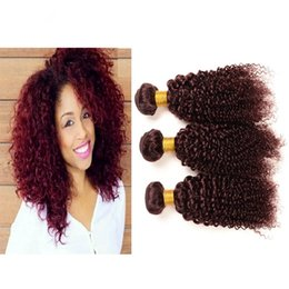 Virgin Peruvian Burgundy Kinky Curly Human hair 3Pcs #99J Wine Red Human Hair Weaves Pure Color Burgundy Kinky Curly Peruvian Hair Bundles
