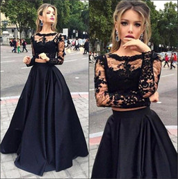 Best Selling Black Lace Two Pieces Prom Dresses 2016 Illusion Long Sleeves Satin Long Skirt Evening Gowns Cheap Formal Party Dresses