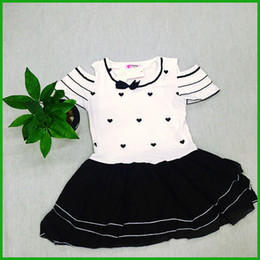 love heart black bow girls vestidos short sleeve floral layered lace tutu style baby girls dresses white black color children dress outfit