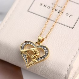 Wholesale 2016 New Exquisite Little Hand In Big Hand Necklace Alloy Diamond Necklace Crystal Necklaces Mom And Baby Hand Jewelry with Heart Great Gift