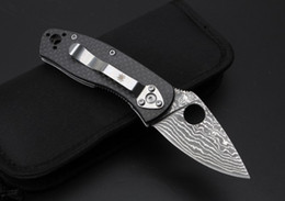 Wholesale Spyderco Carbon Damascus knife Scimitar high quality knife use for ourdoor sport camping hunting knife