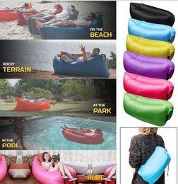 Wholesale Fast Inflatable Air Bag Sofa Outdoor Beach Camping Sleeping Lazy Portable Sleeping Hangout Lounger Inflate Air Beach Sofa cm KKA612