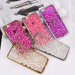 Wholesale Silver Diamond Phone Cases - Wholesale phone cases for Iphone 7 case Crystal diamond texture with electroplate TPU phone case for iphone 6s DHL free shipping