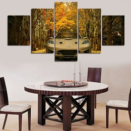 5 Pieces 2016 New arrival HD yellow trees with car pictures Art wall Picture for home decoration paintings free shipping