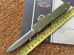 Wholesale Microtech Ultratech S E Out The Front Auto Knife OD Green T6 Aluminum Handle Outdoor Gear Survival Knife Hunting Knife L