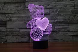 2017 teddy bear love heart3D Optical Night Light 9 LEDs Night Light DC 5V Factory Wholesale