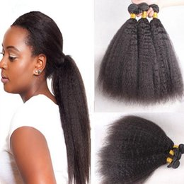 Cheap Mongolian Hair Afro Kinky Straight Weaves 3 Bundles Lot Unprocessed 8A Italian Coarse Yaki Human Hair Weft Extensions In Stock
