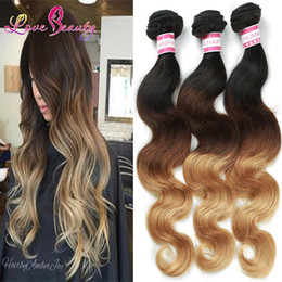 MALAYSIAN ombre hair extensions malaysian virgin hair 1bundle Body Wave Wet And Wavy Three Color 1b 4 27 beauty style fast free ship
