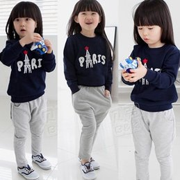 Wholesale Hug Me Girls Baby Cothes Kids hoodi Suit Top Pants set Kids clothes New Autumn Winter Iron tower Set AA