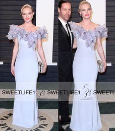 2019 Floor Length Popular Sheath Celebrity Dresses with Petal Power Off Shoulder Cap Sleeves Custom Made Pageant Evening Formal Dresses