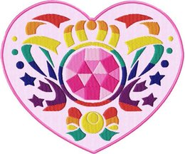 Wholesale 6 quot LARGE Sailor Moon Crystal Heart Locket Animated Anime TV MOVIE SERIES EMBROIDERED Girl Dress Iron On Patch Applique Party Favor