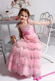 2016 New Spring Girl's Pageant Dresses Fashion Square Short Sleeve Tiered A-Line Birthday Shing Sequins Party Kids Flower Dresses