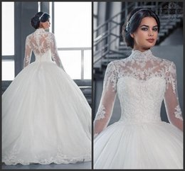 2018 Vintage White Tulle A-Line wedding Dresses Appliqued Lace Floor-Length Jewel Long Sleeve Bridal Gowns Plus Size