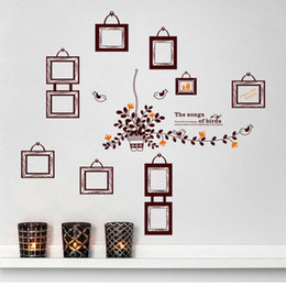 Free shipping high quality DIY PVC Removable Living Room Background Photo Frame Bedroom Wall Sticker