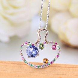 Kingco Brand 2017 New Style Tanzanite Custom Name Necklace With Splints & Luxury Box As Gift For Female Fine Jewelry DC0020